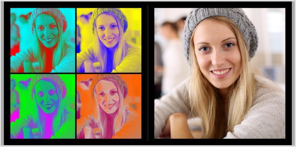 Die fertige Doppelseite mit Pop Art Effekt im CEWE FOTOBUCH
