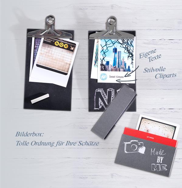 Retro Prints mit Cliparts, Texte, Bilderbox