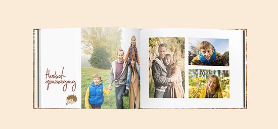 In einem CEWE FOTOBUCH sammeln Sie Ihre schönsten Erinnerungen an den Herbst