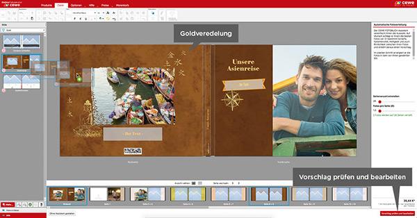Der Software Assistent hilft Ihnen Ihr Fotobuch Cover zu veredeln