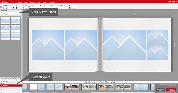Sie haben die Wahl, ob Sie zuerst das Seitenlayout wählen oder Bilder einfügen