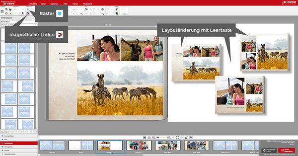 Bilder können auch zuerst eingefügt werden bevor man das Seitenlayout wählt