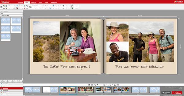 Man kann jederzeit die Anzahl von Fotos pro Seite verändern
