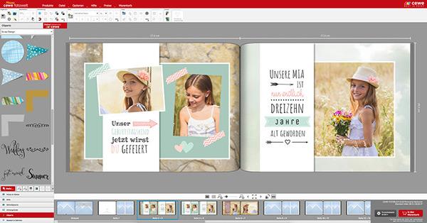 Mit Cliparts ein Fotobuch im Scrapbook Design erstellen