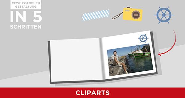 In 5 Schritten erklärt, wie sie mit Cliparts ein Fotobuch kreativ aufwerten können