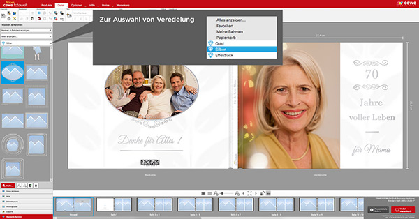Sie können auch veredelte Rahmen auswählen, um Ihre Fotos zu verschönern