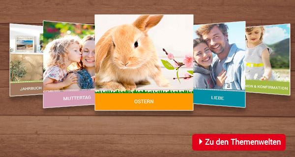 Themenwelten: Jahrbuch, Liebe, Ostern, Muttertag, Kommunion, Konfirmation, Weihnachten, Ideen