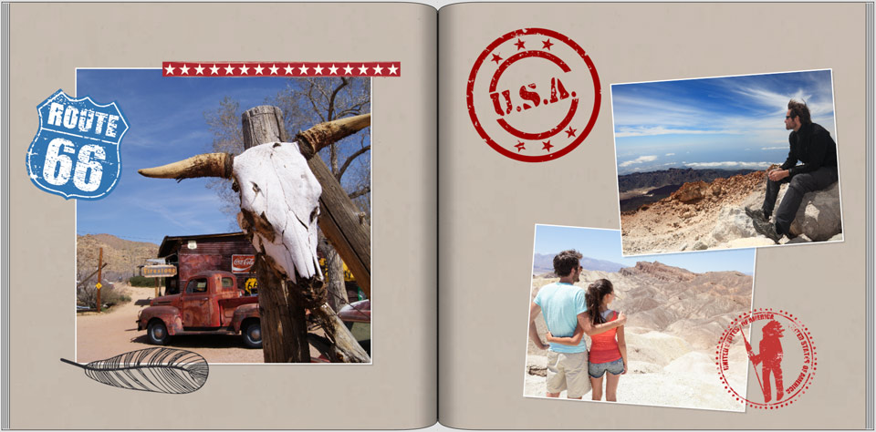 Fotobuch-Gestaltung mit USA-Cliparts