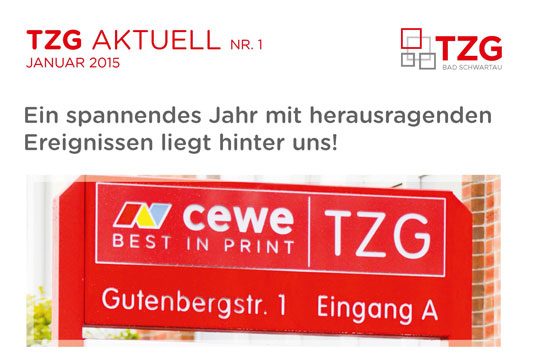 1. Ausgabe der TZG Aktuell von Januar 2015